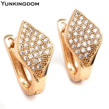 Yunkingdom Vintage Luxury Design 18k Gold Filled Cubic Zirconia Hoop Earrings Big Brand Jewelry Earrings for Women M0083