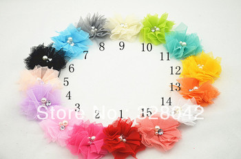Trail order tulle mesh flower Two Pearl With Rhinestone flower flat back hair accessories 50pcs/lot
