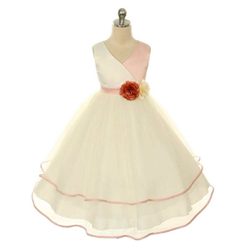 High quality V Neck  Dress  baby kids tutu dress  girls party dress<br><br>Aliexpress
