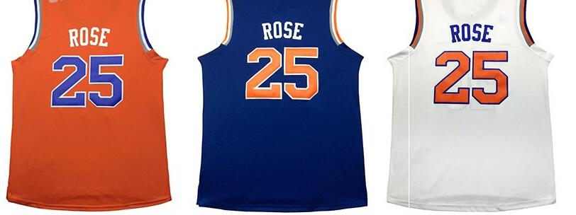 2016 New Derrick Rose Jersey # 25 Men's Rose Basketball Jersey,Embroidery Orange Blue White Basketball Jersey,Free Shipping(China (Mainland))