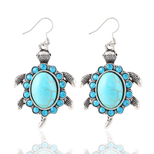 New Fashion Luxury Silver Plated Vintage Animals Turtle Brilliant Crystal Turquoise drop earrings jewelry for women 2014 M11(China (Mainland))