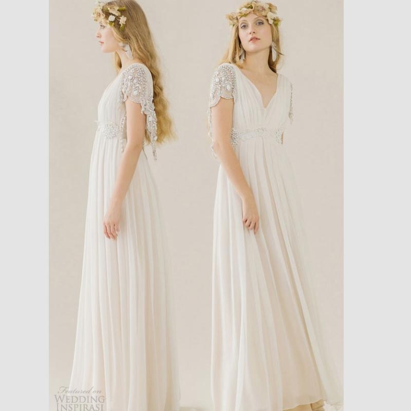 Short v neck wedding dress short hairstyle 2013 for Short beaded wedding dress
