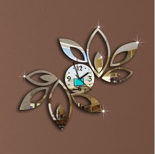 silver Big flower wall clock modern design luxury mirror clock,3d crystal clocks,best gift!