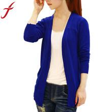 Feitong Women Candy Color Irregular Hem Long Sleeve Slim Thin Women Knitted Cardigan Sweater Blouse Tops