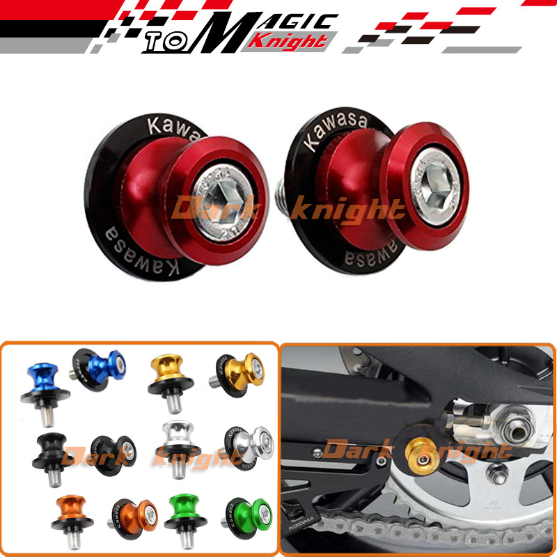 M10 Swingarm Sliders Spools Red For KAWASAKI Ninja ZX6R ZX7R ZX9R ZX10R ZX12R ZX14R Z1000 Z750 ZZR600 ZRX1100(China (Mainland))