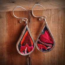 national ethnic style embroidery earrings creative personality Miao silver plated embroidered dangle jewelry wholesale(China (Mainland))