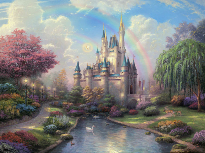 Thomas kinkade Prints on canvas famous oil painting Print reproduction A New Day at the Cinderella Castle modern picture art(China (Mainland))