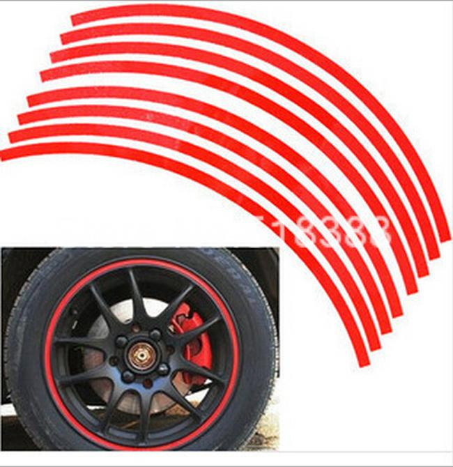 Car Styling 16 Strips Vinyl Film 3M High Quality Reflective Car Sticker for Motorcycle Rim Wheel Auto Decal Tape Stickers(China (Mainland))
