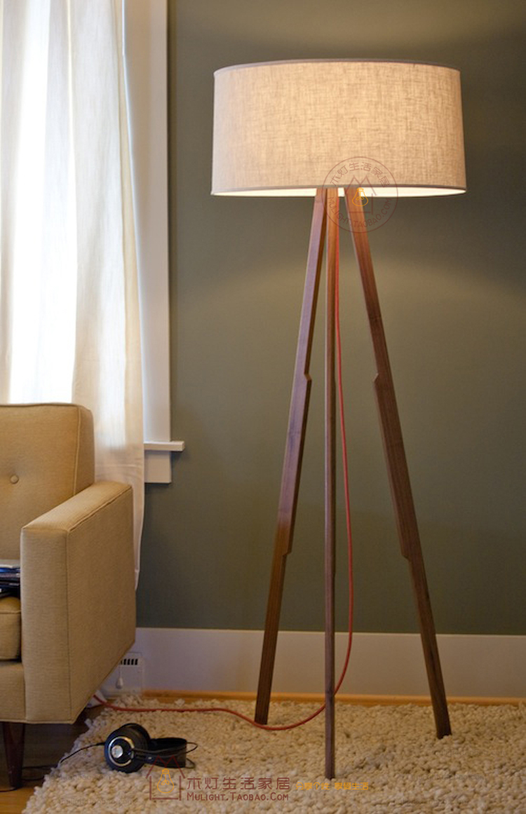 wood tripod floor lamp fabric lamp living room bedroom floor lamp 8301