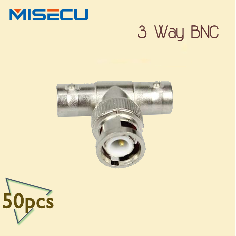 50pcs CCTV RG59 Coaxial BNC Connector 1 Male to 2 Female Coupler Adapter Plug The Cable Connector(China (Mainland))