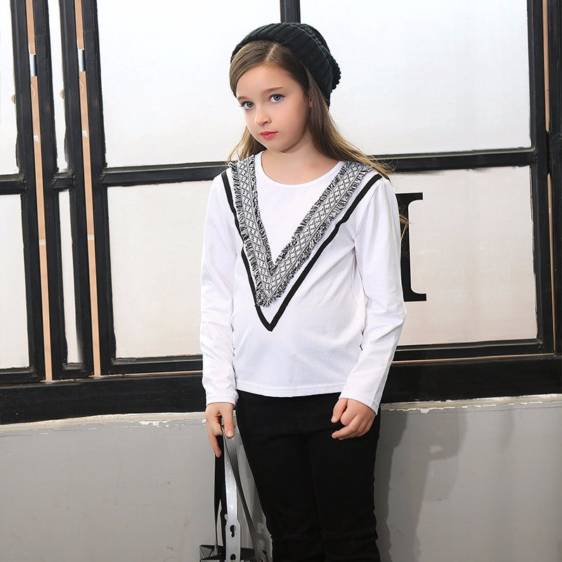 2016 Autumn Girls Long Sleeves T Shirts Tops for Teenage Tees for Children Kids Age 5 6 7 8 9 10 11 12 13 14T Years Old Clothes