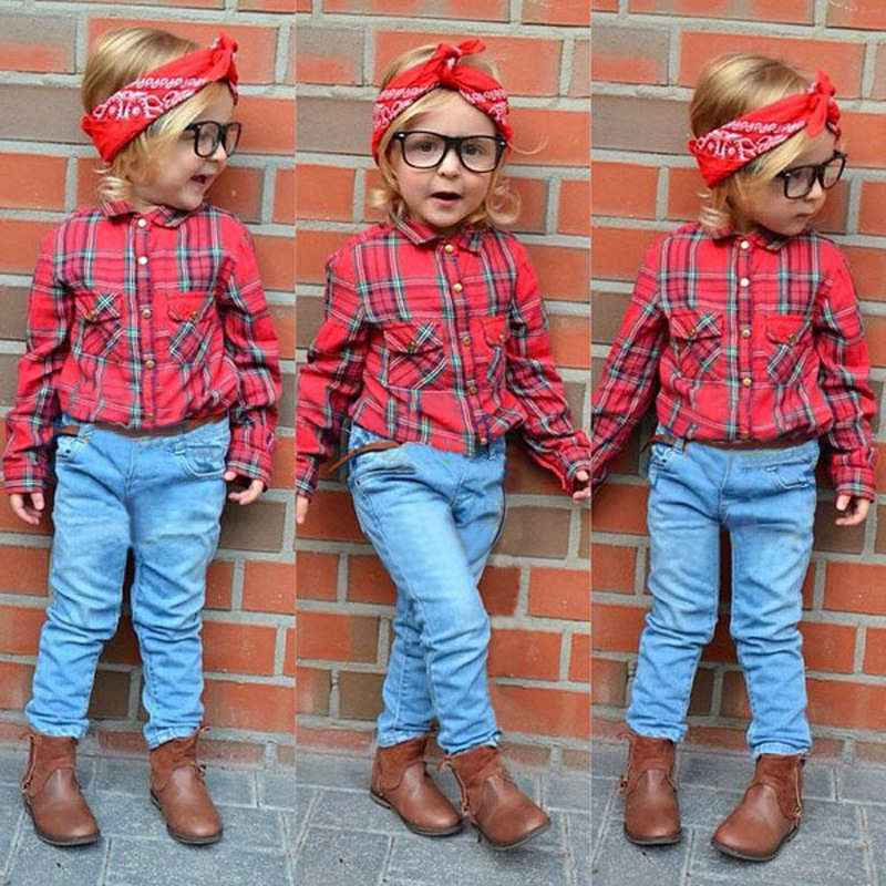 Fashion and model little kids plaid autumn clothing set for 2-6T kids outfit wholesale casual boutique baby clothes (ulik-A002)(China (Mainland))