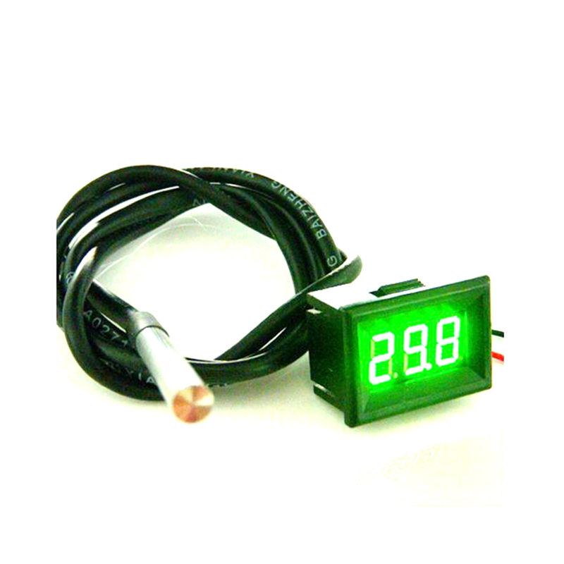-55 To 125 Celsius Green LED Waterproof Thermometer digital temperature Meter with DS18B20 Sensor 1m high precision<br><br>Aliexpress