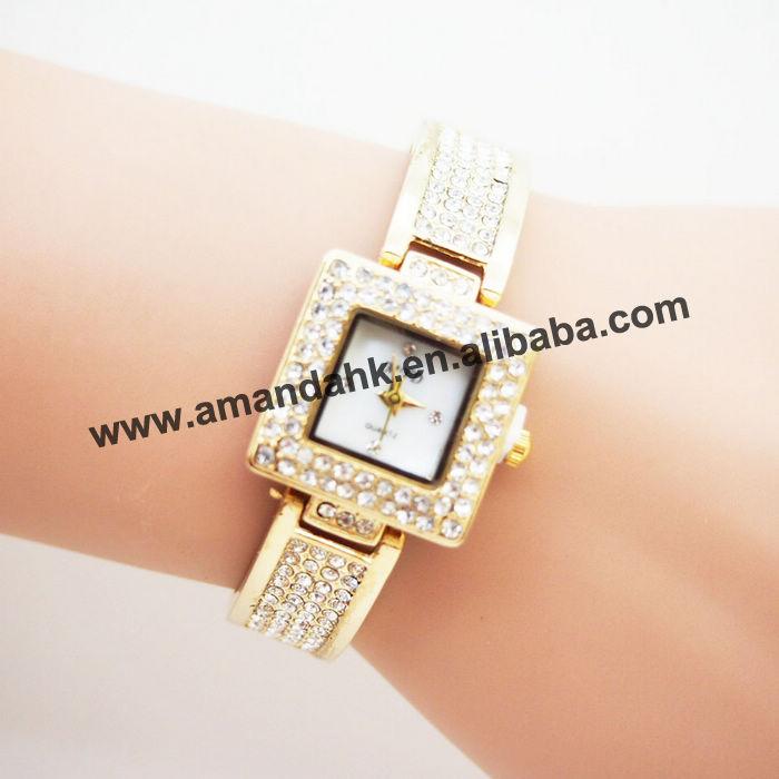 50pcs/lot high quality fashion metal watch, precise quartz movement popular sales,branded crystal woman dress wristwatch.(China (Mainland))
