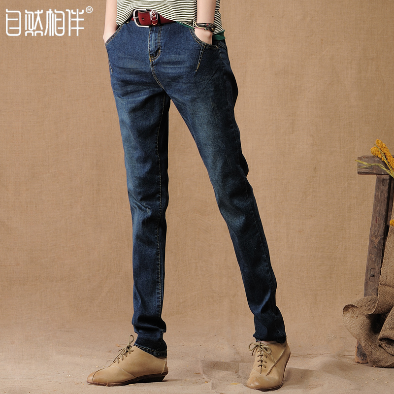 Фотография Natural spring and autumn accompanied by 2016 Haren jeans female trousers loose waist jeans casual pants pants size