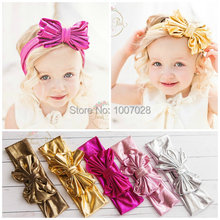 Baby Girls Head wraps, Metallic Messy Bow Baby Head wraps, Jersey knot Headwraps, Big Bow Baby Headbands,Gold Knott Headband,(China (Mainland))