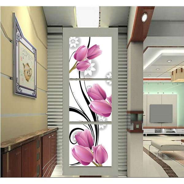 3 Panels Wall Art Picture Printed Wall Pictures For Living Room Purple Art Such Beauty Look Hot Selling Free Shipping(China (Mainland))