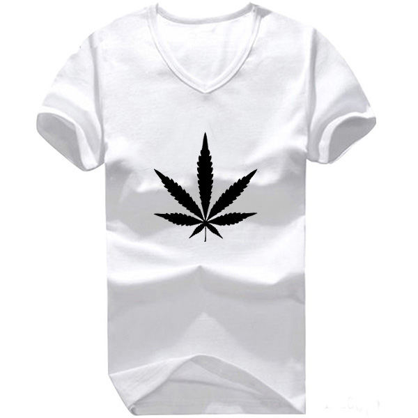 2016 Mens Black White V Neck Emoji Weed Logo Printed T Shirt Male Clothes Boy Clothing S - 3XL Print Tee(China (Mainland))