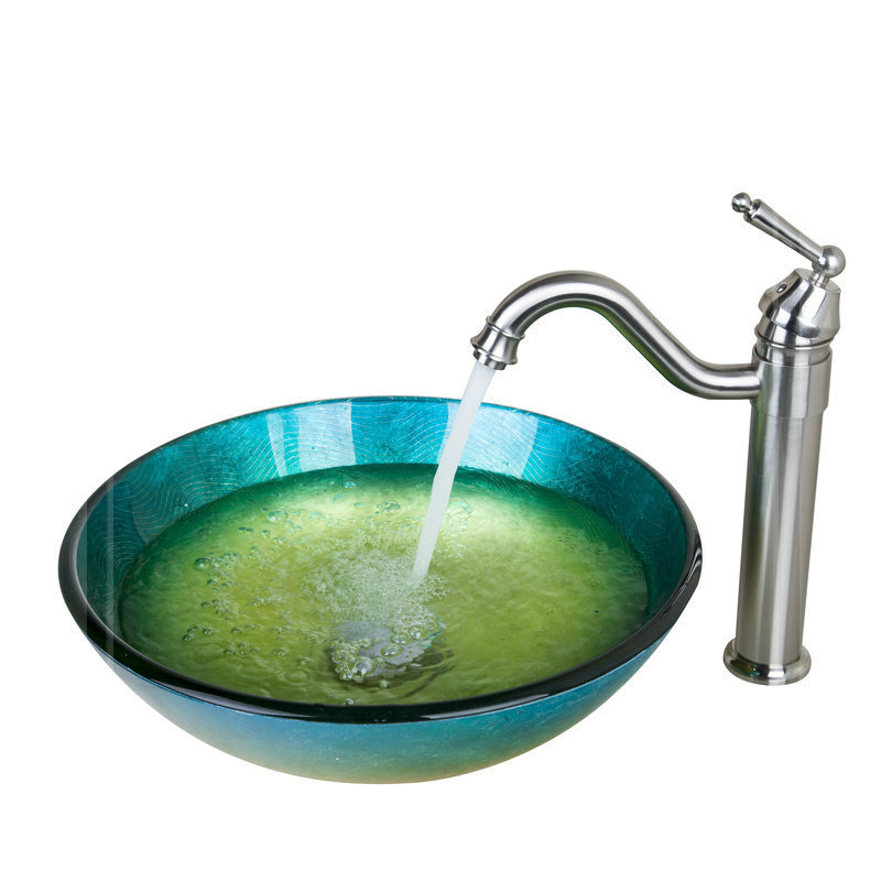 Green And Yellow Round Bathroom Sink Tempered Glass Vessel Sink With Nickel Brushed Faucet And