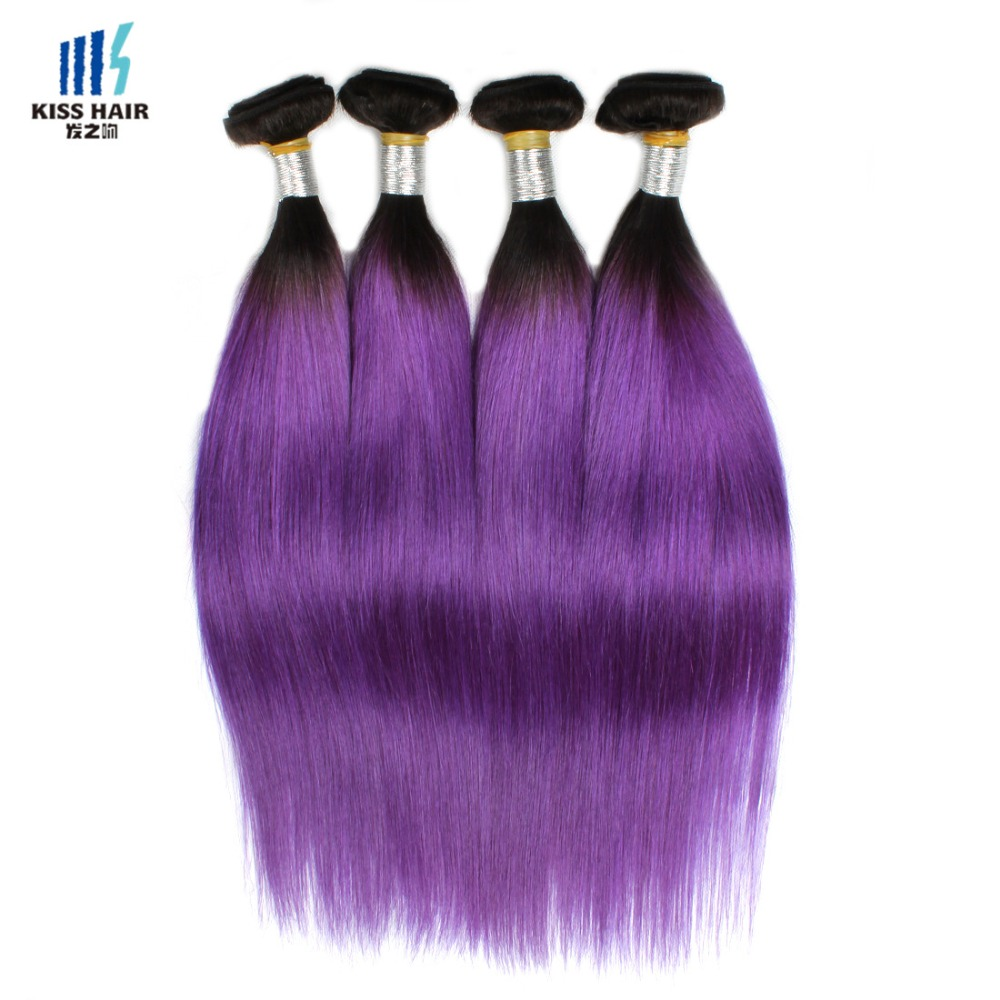Dark Root Purple Ombre Weave 16 inch 18inch 8A Tissage Brazilian Straight Hair T1B/Purple 4 Bundles Ombre Human Hair Extensions<br><br>Aliexpress