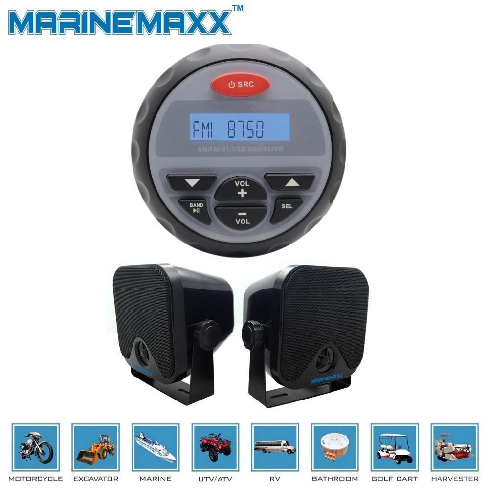 "Waterproof Marine Gauge Radio FM AM Audio Bluetooth Stereo+4"" Heavy Duity Black Waterproof Marne Bx Speaokers for Boat ATV UTV(China (Mainland))"