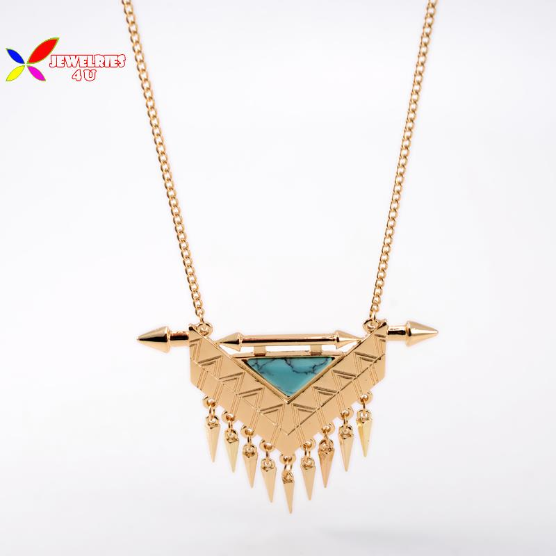 2015 christmas gifts geometric necklaces fashion gold alloy spike fringes nature white blue turquoise pendant necklace for women(China (Mainland))
