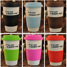 Hot 350ml coffee mug coffee cups single layer mug silicone sleeve coffee cup tea cup tumbler