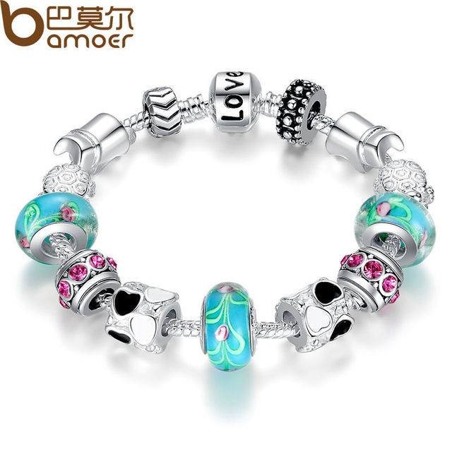 Aliexpress Hot Sell 925 Silver Charm Bracelet Bangle for Women with Murano Beads Fashion Love DIY Jewelry PA1019