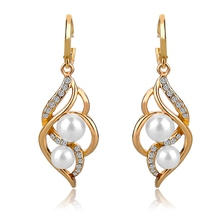 Pendientes Double Simulated Pearl Earrings For Women Crystal Gold Drop Earrings Imitated Diamond-Jewelry Brincos SER140229(China (Mainland))