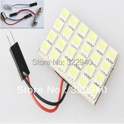Free shipping T10 BA9S Festoon 3 Adapters 24 SMD 5050 white Light 12V LED reading Panel Car interior Dome light