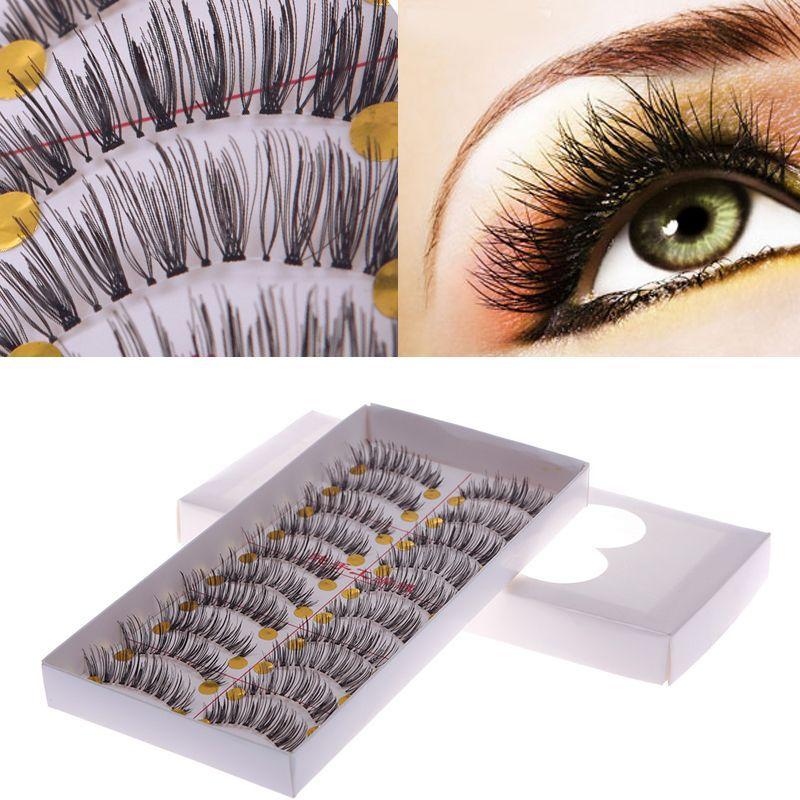 10 Pairs Makeup Handmade Fake False Eyelash Natural Look Transparent Stem 27# 54554(China (Mainland))