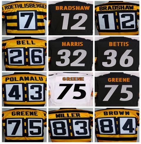 7 Ben Roethlisberger 12 Terry Bradshaw 36 Jerome Bettis 43 Troy Polamalu 50 Ryan Shazier 84 Antonio Brown Elite Jerseys(China (Mainland))
