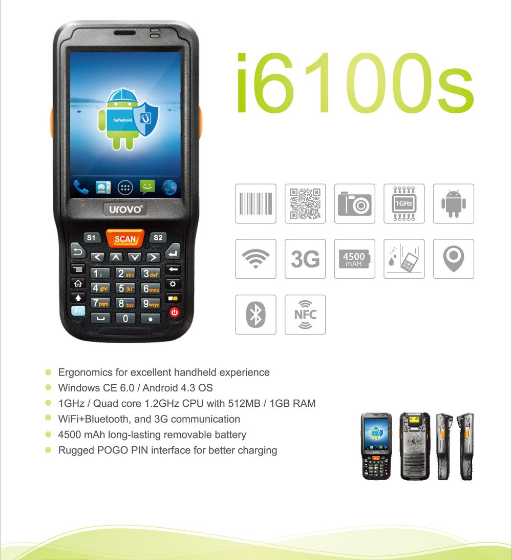 2D Android Mobile Computer barcode scanner.portable scanner.qr code barcode scanner. Urovo i6100s-CE Data terminal 4