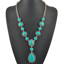 New Arrival Classic And Elegant Turquoise Pendant Necklaces Fashion Water Drop Shape Long Chain Necklaces For Women Jewelry(China (Mainland))
