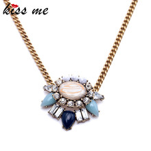 Women Simple Stone Flowers Pendant Necklace Pop Midsummer Designer Jewelry  Factory Wholesale