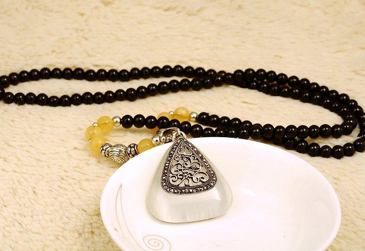 New retro sweater chain CL177 opal triangle beaded long necklace Korean wholesale(China (Mainland))