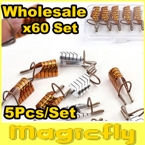 [PFL-050]Wholesale 60x(5Pcs/Set) Golden & Silver Color Aluminum Form/Reusable Nail Form+Free Shipping