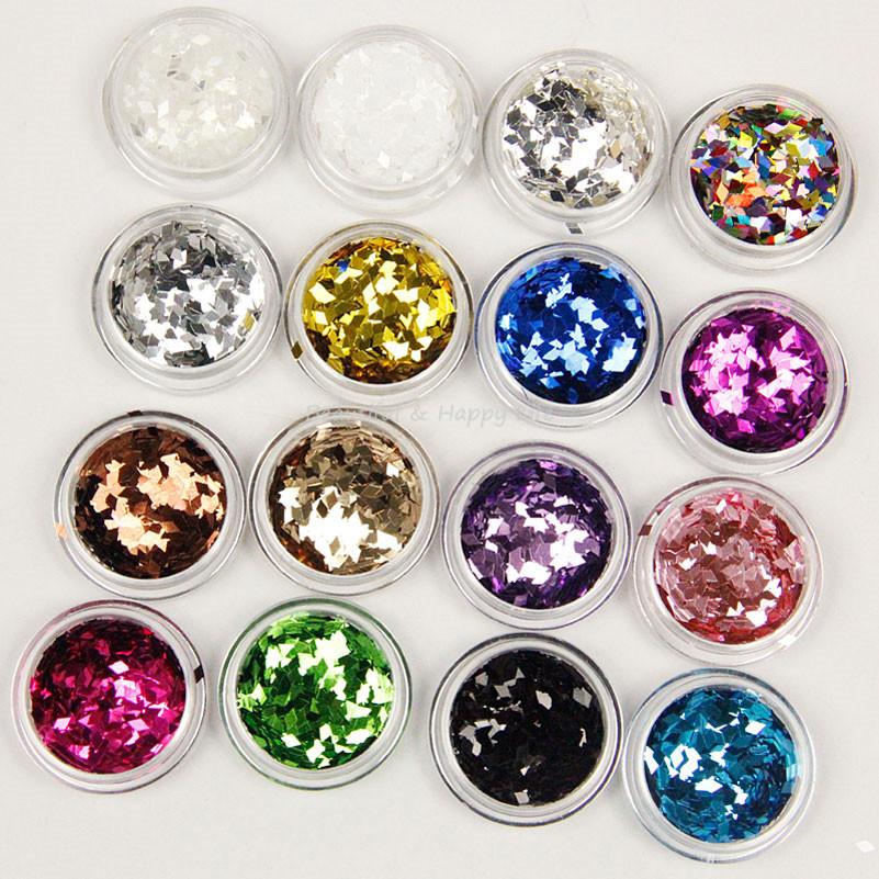 12 PCS/Set UV Polish Nail Acrylic Powder Rhombus Paillette Glitter Nails Color Glitter Nail Art Decoration 3D Slice Powder Set(China (Mainland))