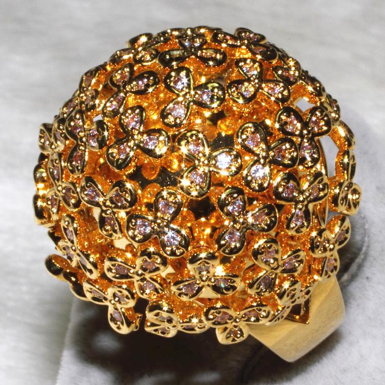 The golden delicate floret ball lavish ball ring Charming Women jewelry AAA zircon 153 grain of pebble ALW1888<br><br>Aliexpress