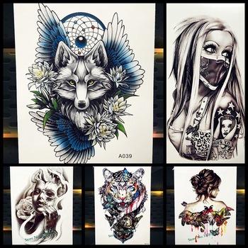New Dreamcatcher Wolf Totem Temporary Tattoo Stickers For Women Body Art Fake Flash Tattoo Dream Catcher Wings Tatoo Men Arm Leg