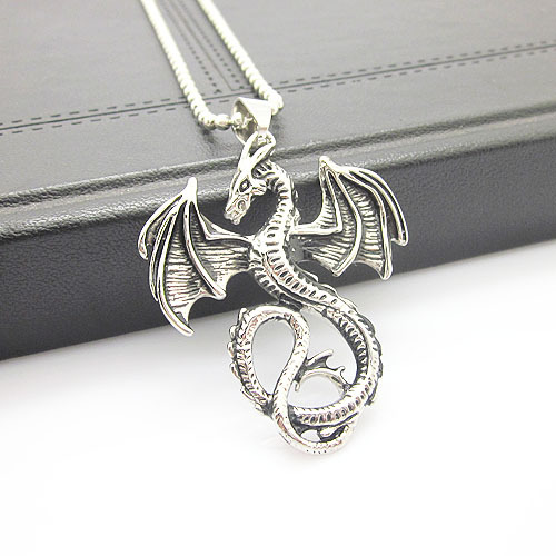 Men's Stainless Steel Silver&Black Color Dragon Pendant Item ID:W4716(China (Mainland))