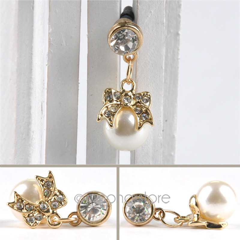 Bowknot accesories 3.5mm Rhinestone Faux Pearl Dustproof Cell Phone Headset Dust Plug for Phone(China (Mainland))