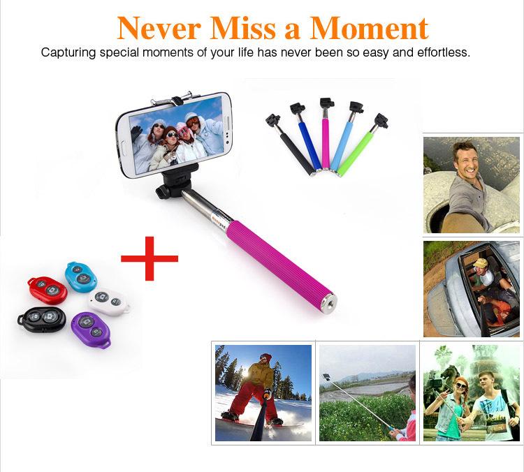100% original Extendable Self Selfie Stick Handheld Monopod+Clip Holder+Bluetooth Shutter Remote Controller for iPhone Samsung(China (Mainland))