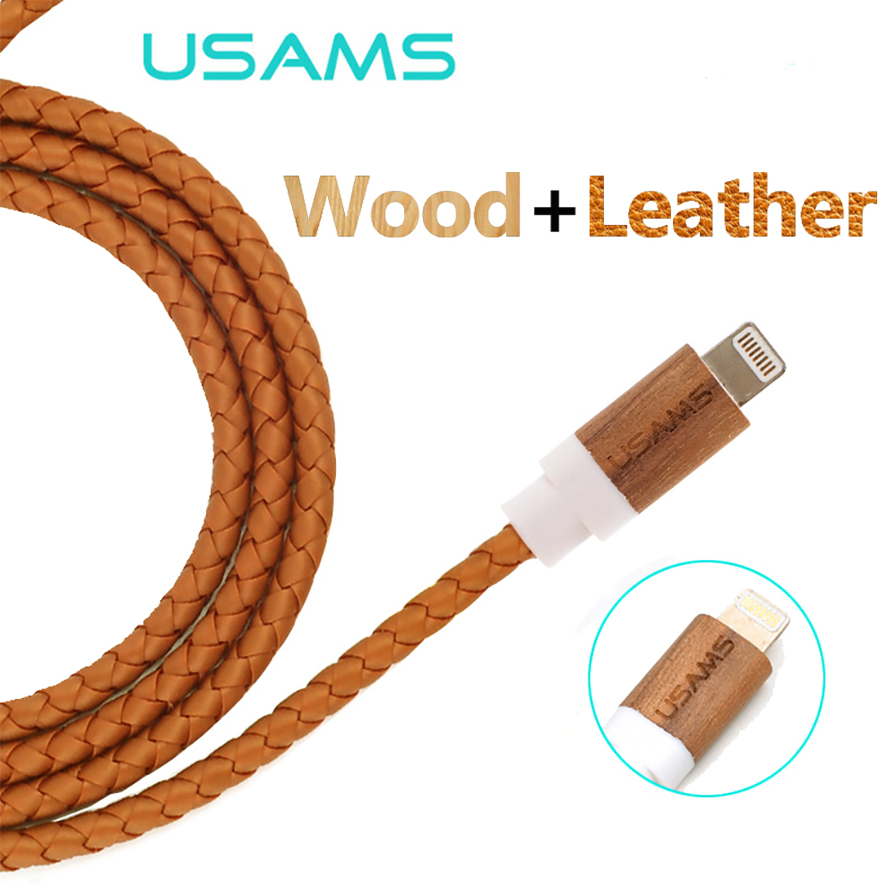 For Iphone 5s 5 USB Cable IOS9 USAMS Wood Leather 1M 3Ft 2.1A Usb Charger wire Sync Data Cable For iphone 6 6s ipad 4 mini air 2(China (Mainland))