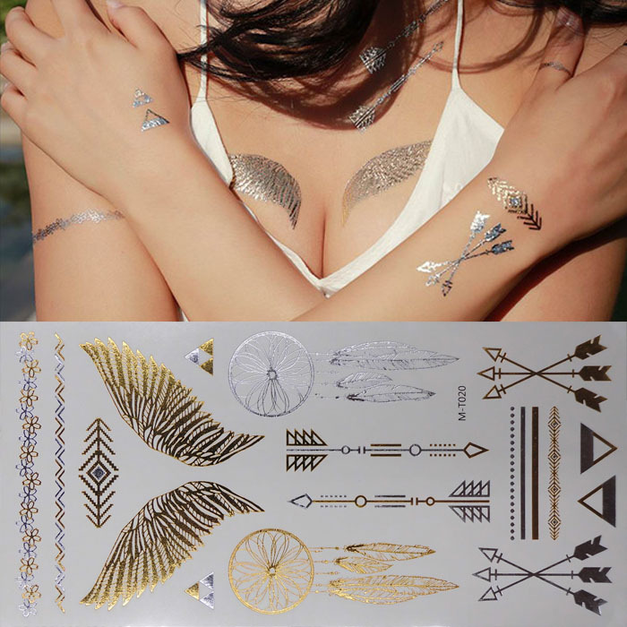 Temporary Metallic Tattoo Gold Silver Sexy Angel Wings Feather Waterproof Body Art Flash Bracelets HennaTattoos Stickers TATY(China (Mainland))