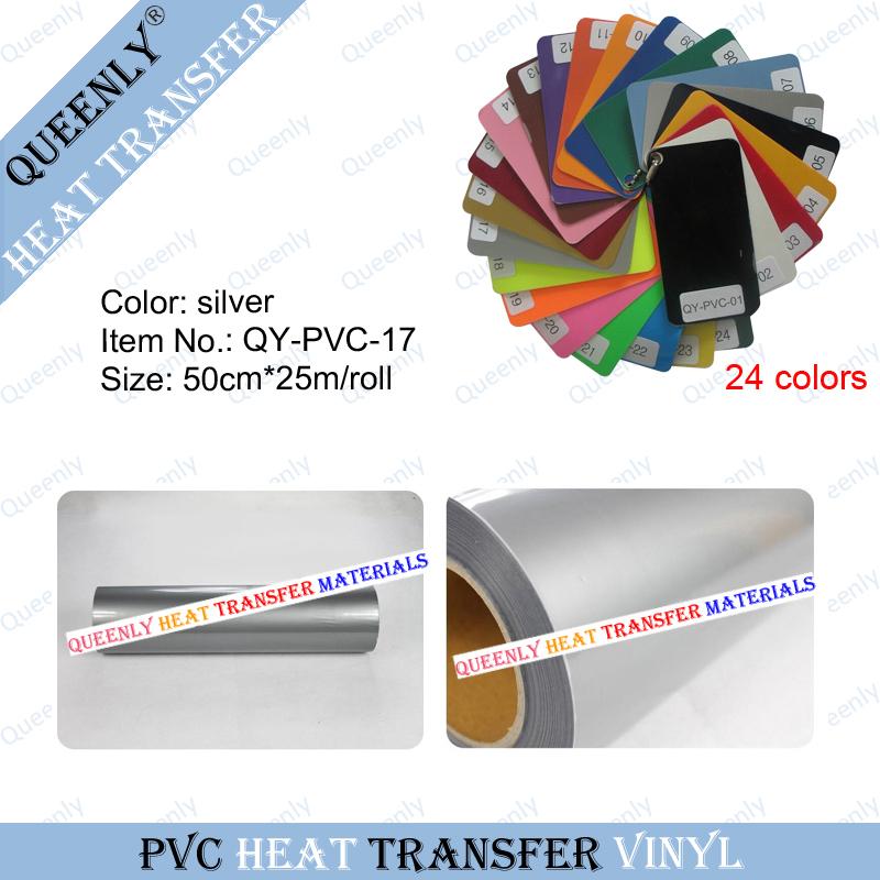 Silver PVC heat transfer vinyl custom vinyl heat transfer 50cm*25m/roll(China (Mainland))