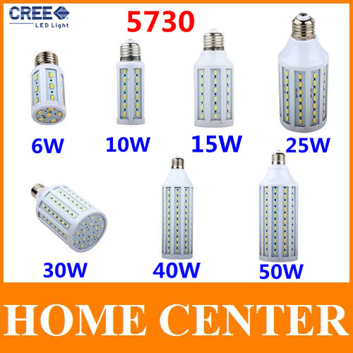 SMD 5730 E27 Led 220V 50W 40W 30W 25W 15W 10W 6W Corn Bulb Led Lamp warm white cool white bulb with tracking number(China (Mainland))