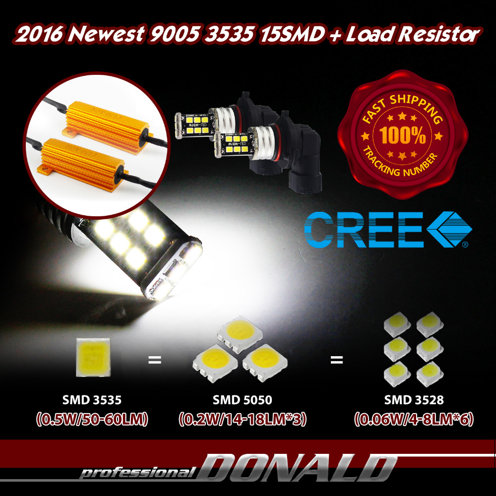 10x 9005 HB3 H10 15SMD CREE 3535 CANBUS LED 6000K White Car Fog DRL Driving Bulb Light Load Resistors Decoder Anti Blinker 800LM<br><br>Aliexpress