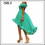 Party-Women-Dress-cute-Princess-green-dot-a-line-dresses-summer-2015-plus-size-short-sleeve