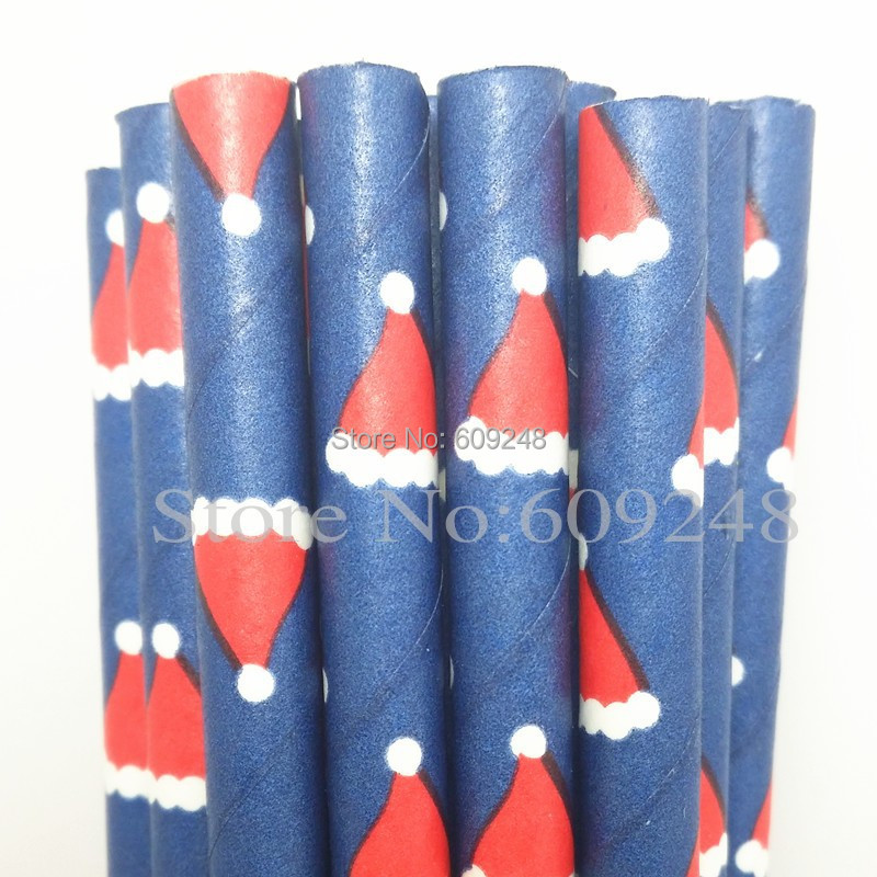 100pcs Mixed Colors Christmas Cap Printed Navy Paper Straws Drinking,Colored Discount Biodegradable Vintage Party Supplies Bulk(China (Mainland))